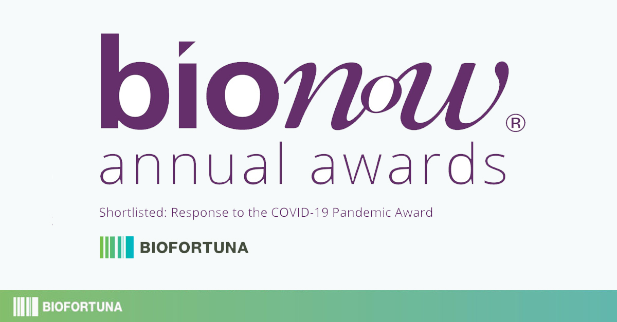 Bionow awards logo is displayed above the main copy